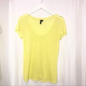 Cynthia Rowley burnout blouse yellow tshirt medium